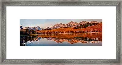 Panoramic Of Little Redfish Lake Framed Print