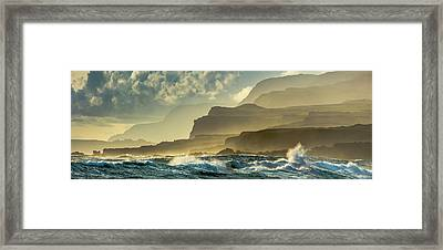 Panoramic Of Molokais North Shore Sea Framed Print by Richard A Cooke III