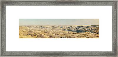 Panoramic Of The Badlands Of The Red Framed Print by Roberta Murray