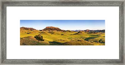Panoramic Of The Bears Paw Mountains Framed Print by Chuck Haney