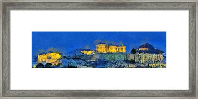 Panoramic Painting Of Acropolis In Athens Framed Print