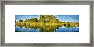 Panoramic Painting Of Ducks Lake Framed Print by George Atsametakis
