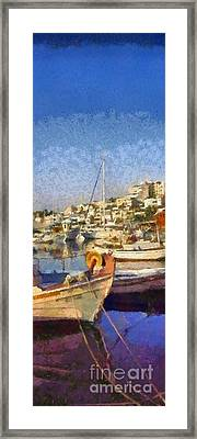 Panoramic Painting Of Mikrolimano Port Framed Print