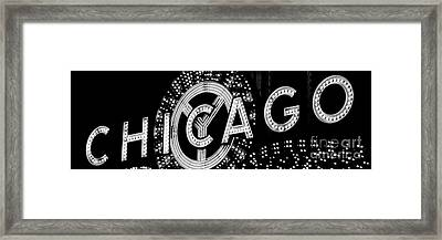 Panoramic Photo Of Chicago Theatre Sign In Black And White Framed Print