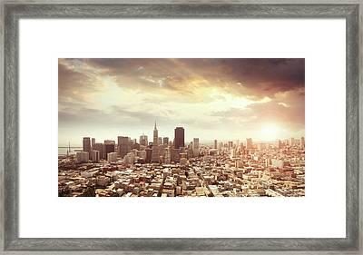 Panoramic Photo Of San Francisco In Framed Print by Narvikk