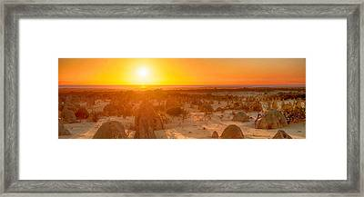 Framed Print featuring the photograph Panoramic Photo Of Sunset At The Pinnacles by Yew Kwang