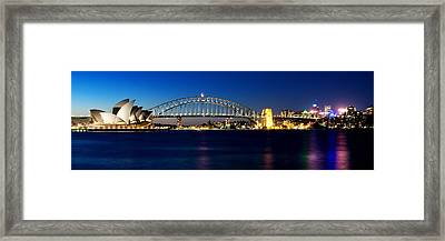 Framed Print featuring the photograph Panoramic Photo Of Sydney Night Scenery by Yew Kwang