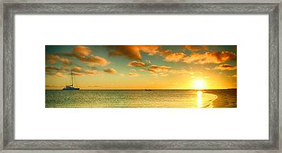Panoramic Photo Sunrise At Monky Mia Framed Print