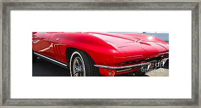 panoramic red Corvette Framed Print