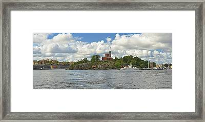 Panoramic Seascape With Castle Stockholm Sweden Framed Print