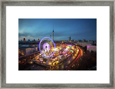 Panoramic View At Sunset Of Berlin With Framed Print by Andreas Mohaupt