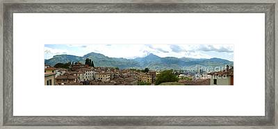 Panoramic View Barga And Apennines Italy Framed Print