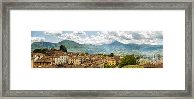 Panoramic View From Barga In Italy Of The Appeninies Framed Print