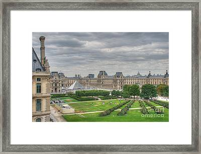Panoramic View Musee Du Louvre Framed Print by Malu Couttolenc