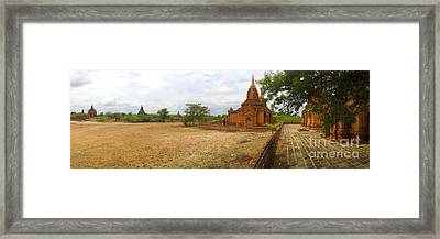 Framed Print featuring the photograph Panoramic View Next To Dhammayazika Pagoda Built In 1196 By King Narapatisithu by Ralph A  Ledergerber-Photography
