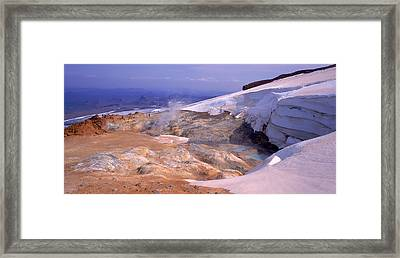 Panoramic View Of A Geothermal Area Framed Print by Panoramic Images