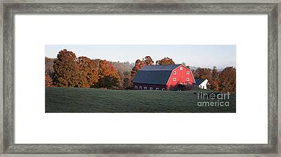 Panoramic View Of A Red Barn At Sunrise Framed Print by Edward Fielding
