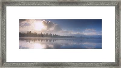Panoramic View Of A River At Dawn Framed Print