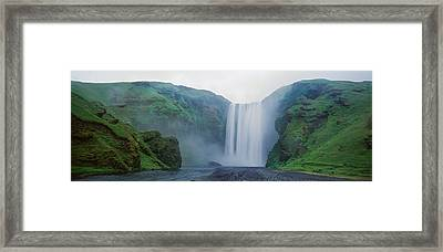 Panoramic View Of A Waterfall Framed Print by Panoramic Images