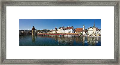 Panoramic View Of Historic Lucerne Framed Print by George Oze