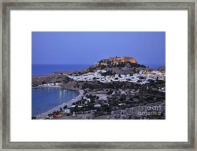 Panoramic View Of Lindos Framed Print by George Atsametakis