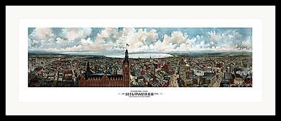 City Hall Mixed Media Framed Prints