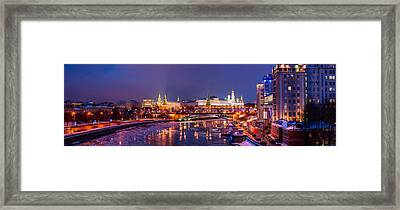 Panoramic View Of Moscow River And Moscow Kremlin  - Featured 3 Framed Print