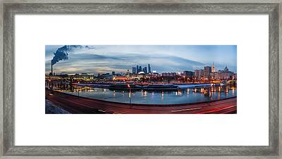 Panoramic View Of Moscow River - Kiev Railway Station And Square Of Europe - Featured 3 Framed Print