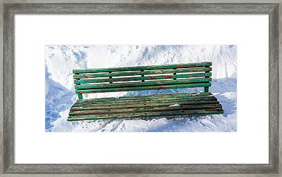 Panoramic View Of Park Bench - Featured 2 Framed Print