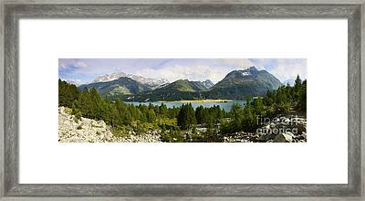 Panoramic View Of Sils Lake Framed Print by Scatena Artwork
