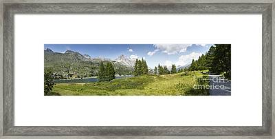 Panoramic View Of Sils Lake - Switzerland - Europe Framed Print by Scatena Artwork