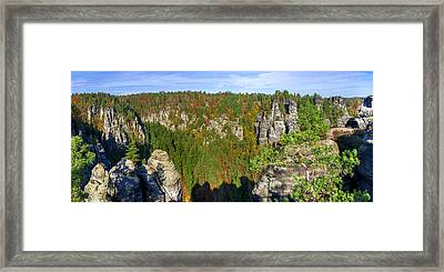 Panoramic View Of The Elbe Sandstone Mountains Framed Print