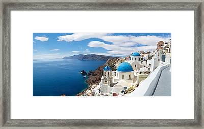 Panoramic View Of The Oia Village Framed Print by Gurgen Bakhshetsyan
