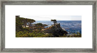 Panoramic View Of The Pacific Coastline At Pebble Beach Framed Print by George Oze