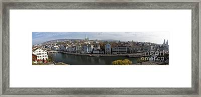 Panoramic View Of Zurich  Framed Print