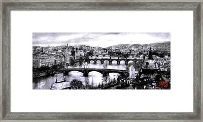 Panoramic View To Prague Framed Print
