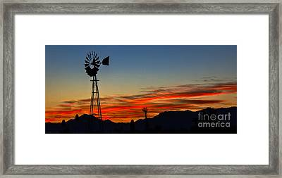 Panoramic Windmill Silhouette Framed Print by Robert Bales