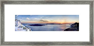 Panorama Santorini Caldera At Sunset Framed Print by David Smith