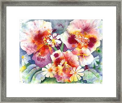 Pansies And Daisies Framed Print by Kathleen McGee