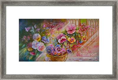 Pansies In Gold Framed Print by Patricia Schneider Mitchell
