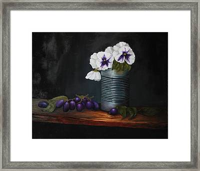 Pansies In Tin Can Framed Print