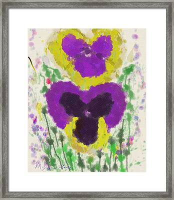 Framed Print featuring the digital art Pansies by Mary M Collins