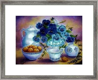 Pansies Of Blue Framed Print by Fineartist Ellen