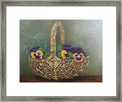 Framed Print featuring the painting Pansy Basket Sherry Nelson Study by Sharon Schultz