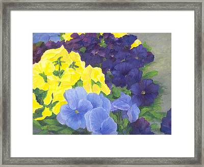 Pansy Garden Bright Colorful Flowers Painting Pansies Floral Art Artist K. Joann Russell Framed Print