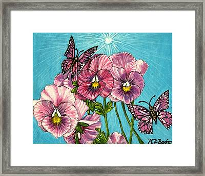 Framed Print featuring the painting Pansy Pinwheels And The Magical Butterflies by Kimberlee Baxter