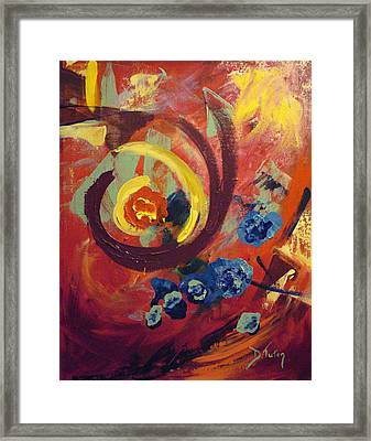 Framed Print featuring the painting Pansymania by Donna Tuten