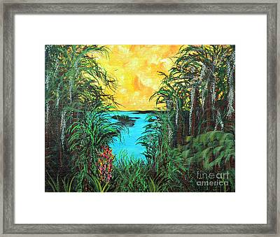 Framed Print featuring the painting Panther Island In The Bayou by Alys Caviness-Gober