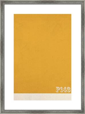 Pantone 143 Mustard Yellow Color On Worn Canvas Framed Print by Design Turnpike