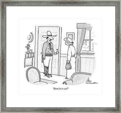 Pants In Or Out? Framed Print by Leo Cullum